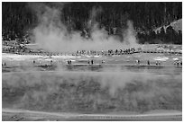 Grand Prismatic Spring and boardwalks. Yellowstone National Park ( black and white)