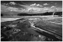 Rainbow Pool, Black Sand Basin. Yellowstone National Park ( black and white)
