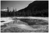 Emerald Pool, Black Sand Basin. Yellowstone National Park ( black and white)