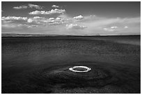 Fishing Cone and Yellowstone Lake. Yellowstone National Park ( black and white)