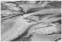 Colorful algaes patterns, Biscuit Basin. Yellowstone National Park, Wyoming, USA. (black and white)