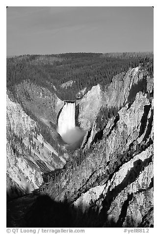 Falls of the Yellowstone River, early morning. Yellowstone National Park (black and white)