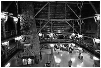 Main hall of Old Faithful Inn. Yellowstone National Park, Wyoming, USA. (black and white)
