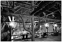 Wooden structures inside Old Faithful Inn. Yellowstone National Park ( black and white)