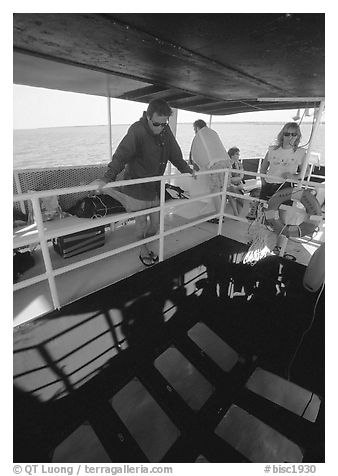 Glass bottom boat. Biscayne National Park (black and white)