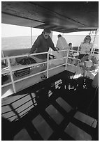 Glass bottom boat. Biscayne National Park, Florida, USA. (black and white)