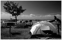 Camping on Elliott Key. Biscayne National Park, Florida, USA. (black and white)