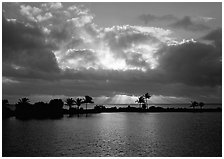 Sunrays and clouds at sunrise, Bayfront. Biscayne National Park, Florida, USA. (black and white)