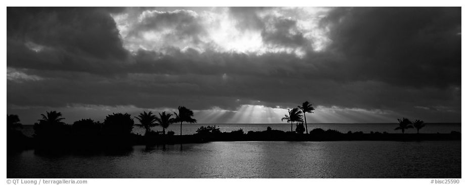 Sunrise with dark clouds over coastal lagoon. Biscayne National Park (black and white)