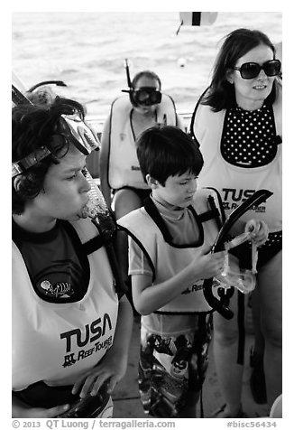 Family preparing for snorkeling. Biscayne National Park (black and white)
