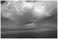 Storm cloud over ocean. Biscayne National Park, Florida, USA. (black and white)