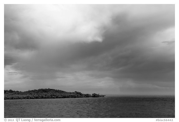 Elliot Key, Caesar Creek, and thunderstorm clouds. Biscayne National Park (black and white)