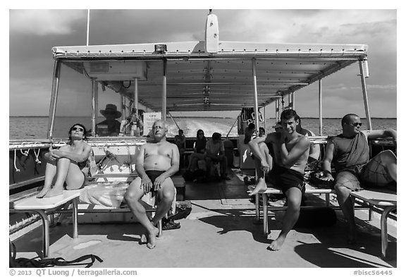 Aboard snorkeling boat. Biscayne National Park (black and white)