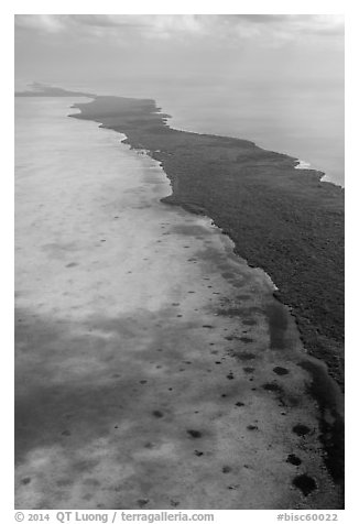 Aerial view of Biscayne Bay and Elliott Key. Biscayne National Park (black and white)