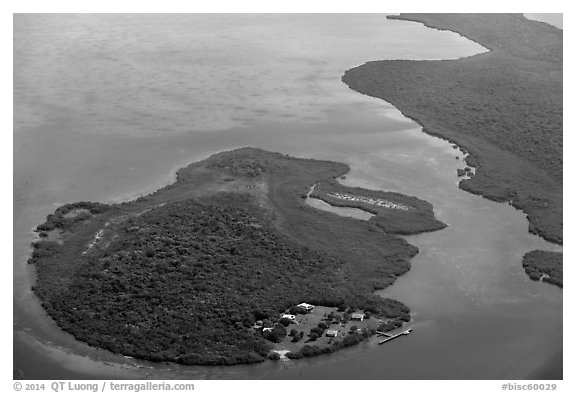 Aerial view of Adams Key. Biscayne National Park (black and white)