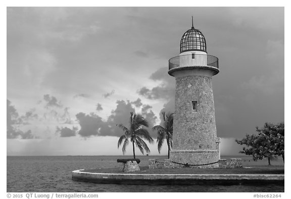 Boca Chita Lighthouse, early morning. Biscayne National Park (black and white)