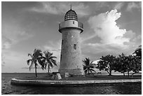 Ornemental lighthouse and cannon, Boca Chita Key. Biscayne National Park ( black and white)