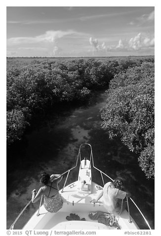 Passengers on front of boat navigating narrow channel. Biscayne National Park (black and white)