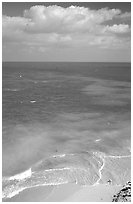 Open ocean view with beach, turquoise waters and surf. Dry Tortugas National Park, Florida, USA. (black and white)
