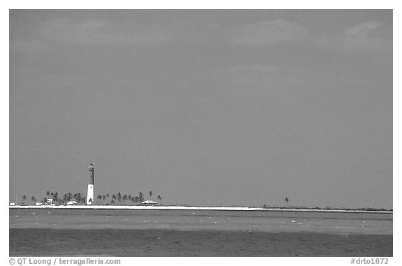 Loggerhead Key and lighthouse. Dry Tortugas National Park (black and white)
