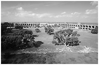 Parade grounds of Fort Jefferson. Dry Tortugas National Park, Florida, USA. (black and white)