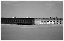 Fort Jefferson seen from ocean. Dry Tortugas National Park, Florida, USA. (black and white)