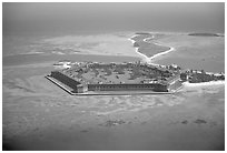 Aerial view of Garden, Bush, and Long Keys. Dry Tortugas National Park, Florida, USA. (black and white)