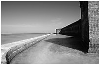 Fort Jefferson moat and seawall. Dry Tortugas National Park, Florida, USA. (black and white)