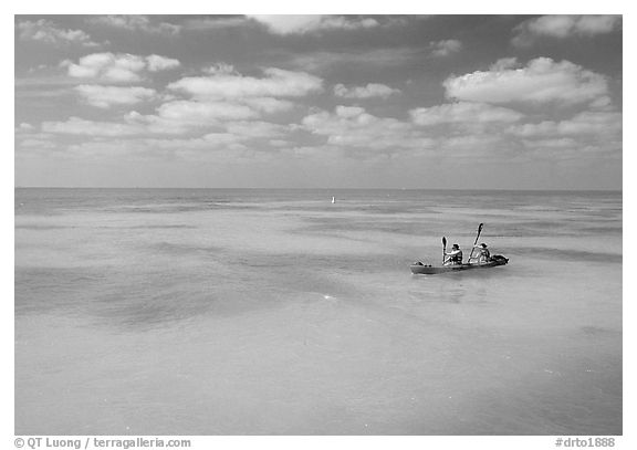 Sea kayakers in turquoise waters. Dry Tortugas National Park (black and white)