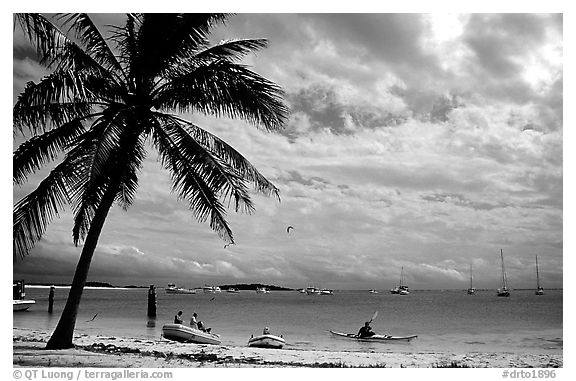 Beach and boats moored in Tortugas anchorage. Dry Tortugas National Park (black and white)