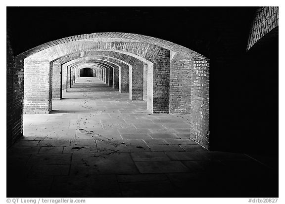 Gunroom in Fort Jefferson. Dry Tortugas National Park (black and white)