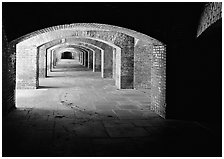 Gunroom in Fort Jefferson. Dry Tortugas National Park, Florida, USA. (black and white)