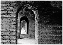 Gallery of brick arches, Fort Jefferson. Dry Tortugas National Park, Florida, USA. (black and white)