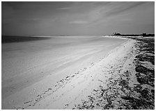 Sandy beach and turquoise waters, Bush Key. Dry Tortugas National Park, Florida, USA. (black and white)