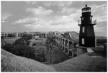 Fort Jefferson lighthouse, dawn. Dry Tortugas National Park, Florida, USA. (black and white)