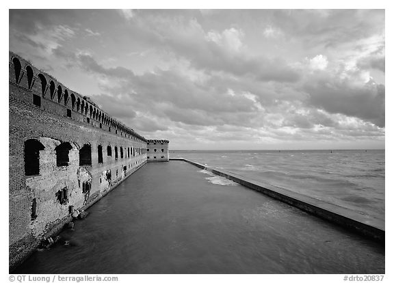 Fort Jefferson wall, moat and seawall, late afternoon light. Dry Tortugas  National Park (black and white)
