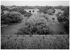 Courtyard of Fort Jefferson with lawn and trees. Dry Tortugas National Park, Florida, USA. (black and white)