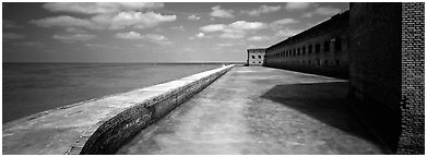 Seawall, moat, and Fort Jefferson. Dry Tortugas National Park (Panoramic black and white)