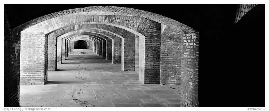 Arches in Fort Jefferson lower level. Dry Tortugas National Park (black and white)
