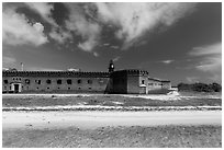 Beach, Garden Key, and Fort Jefferson. Dry Tortugas National Park ( black and white)