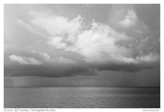 Storm clouds above ocean. Dry Tortugas National Park (black and white)