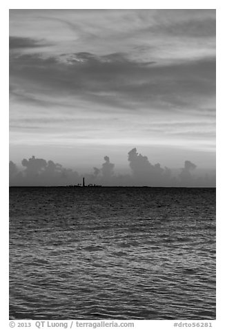 Colorful sunset over Loggerhead Key. Dry Tortugas National Park (black and white)