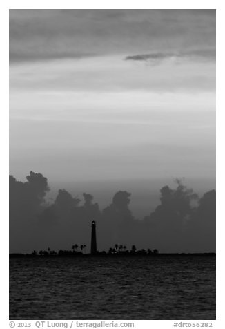 Loggerhead Key lighthouse at sunset. Dry Tortugas National Park (black and white)