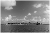 Garden Key and Fort Jefferson from water. Dry Tortugas National Park ( black and white)