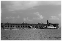 Fort Jefferson from water. Dry Tortugas National Park, Florida, USA. (black and white)