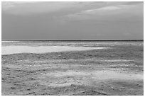 Turquoise waters over shallow sand bars, Loggerhead Key. Dry Tortugas National Park, Florida, USA. (black and white)