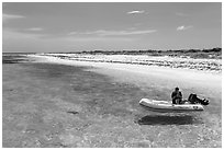 Dinghy on clear waters, Loggerhead Key. Dry Tortugas National Park, Florida, USA. (black and white)