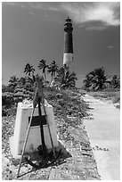 Memorail and Loggerhead Light. Dry Tortugas National Park ( black and white)