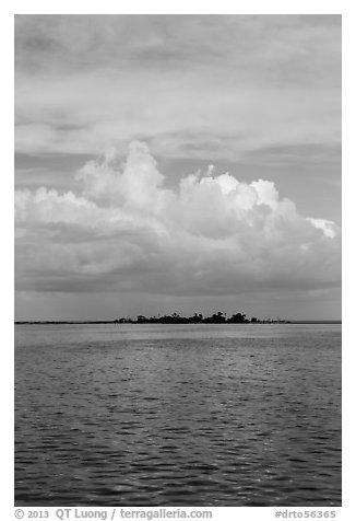 Long Key and cloud. Dry Tortugas National Park (black and white)