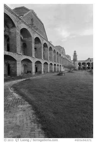 Inside Fort Jefferson at sunset. Dry Tortugas National Park (black and white)